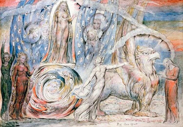 Беатриче обращается к Данте с колесницы   Уильям Блейк