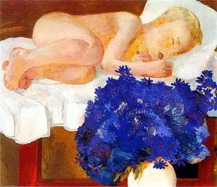 Спящий ребенок с васильками   Александр Дейнека
