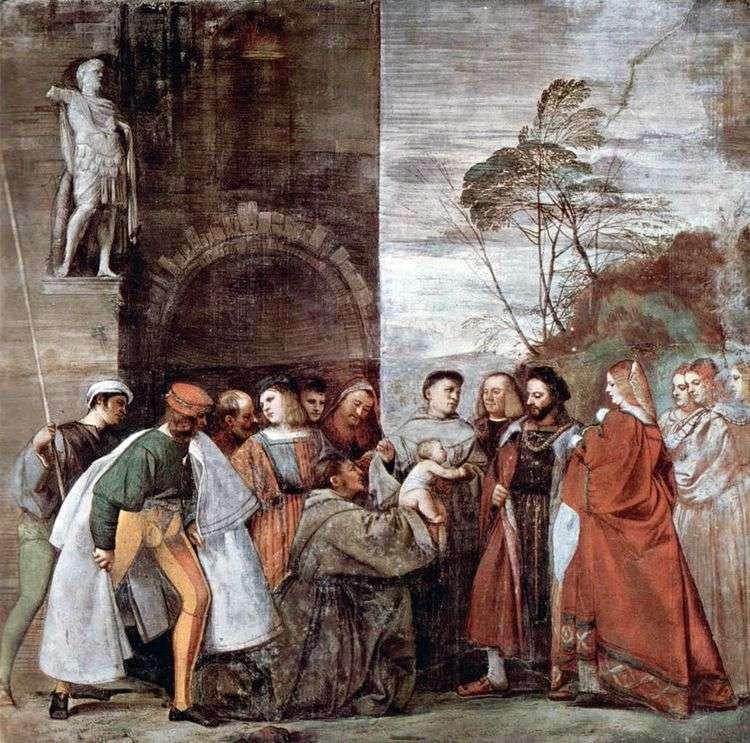 Чудо с говорящим новорожденным, снимающим со своей матери обвинение в прелюбодеянии   Тициан Вечеллио