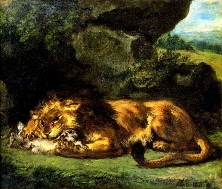 Лев, пожирающий кролика   Эжен Делакруа