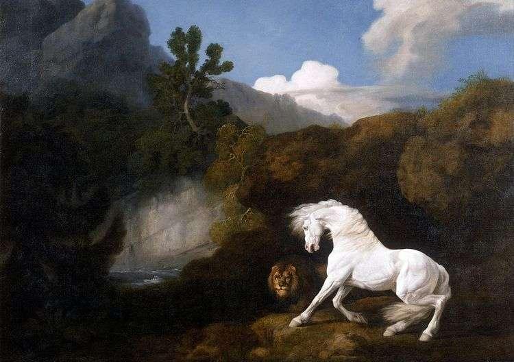 Белая лошадь, напуганная львом   Джордж Стаббс