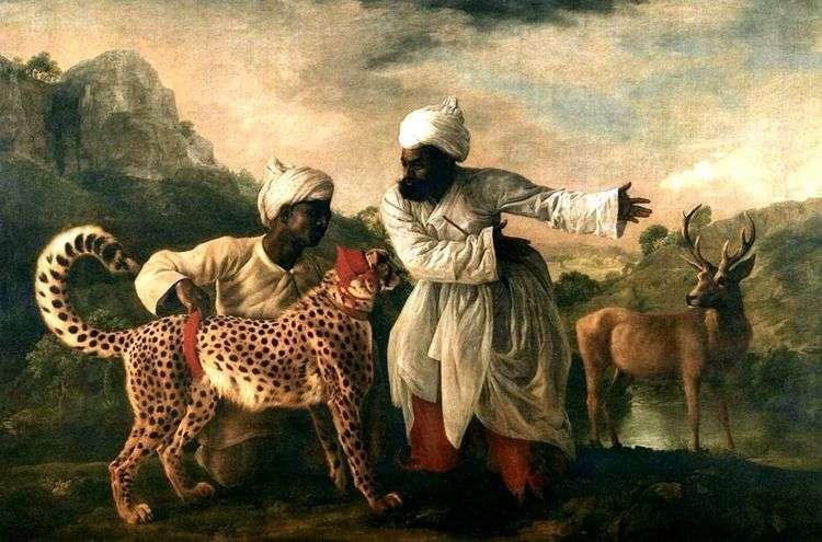 Гепард и олень с двумя индусами   Джордж Стаббс