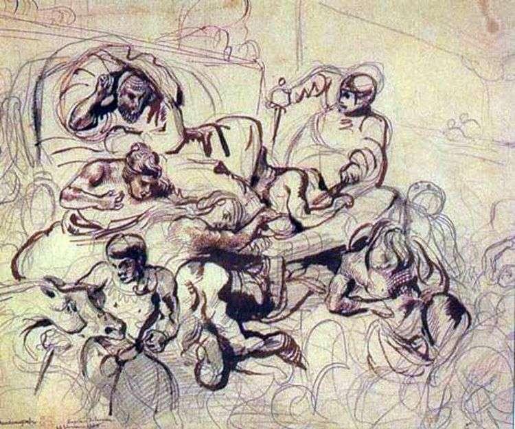 Набросок к картине Смерть Сарданапала   Эжен Делакруа
