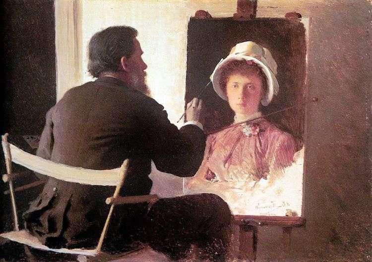 Крамской, пишущий портрет своей дочери   Иван Крамской