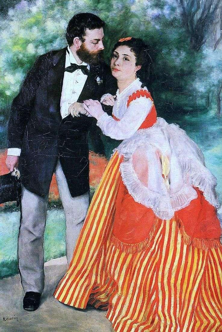 Портрет А. Сислея с женой   Пьер Огюст Ренуар