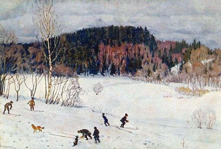 Пейзаж с лыжниками   Константин Юон