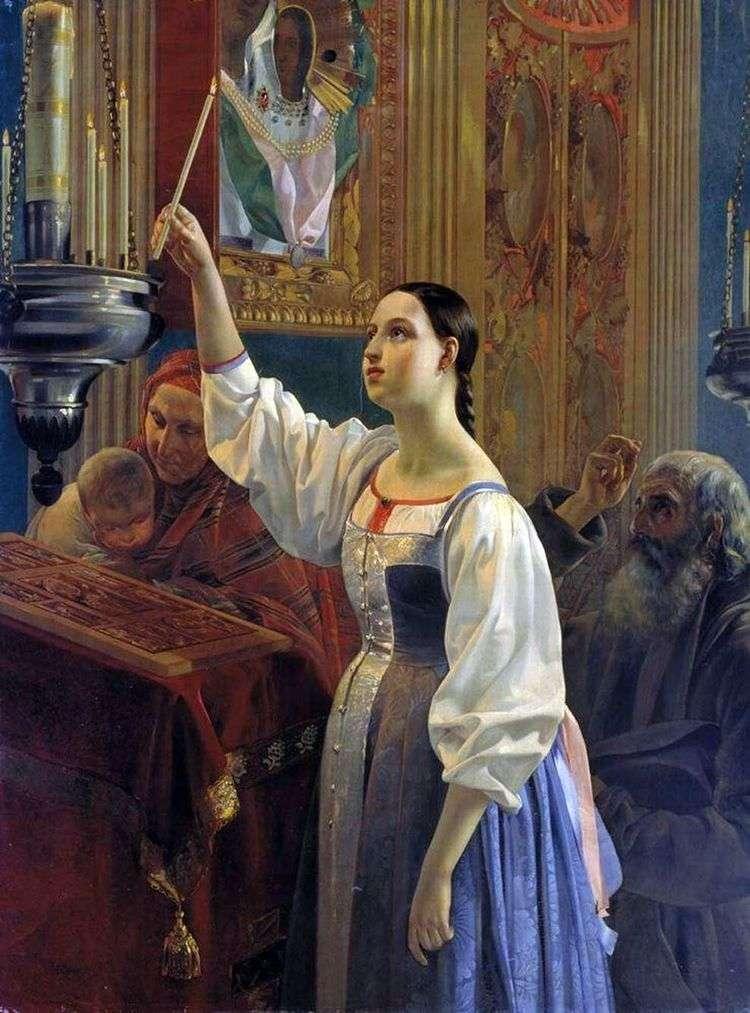 Девушка, ставящая свечу перед образом   Григорий Михайлов
