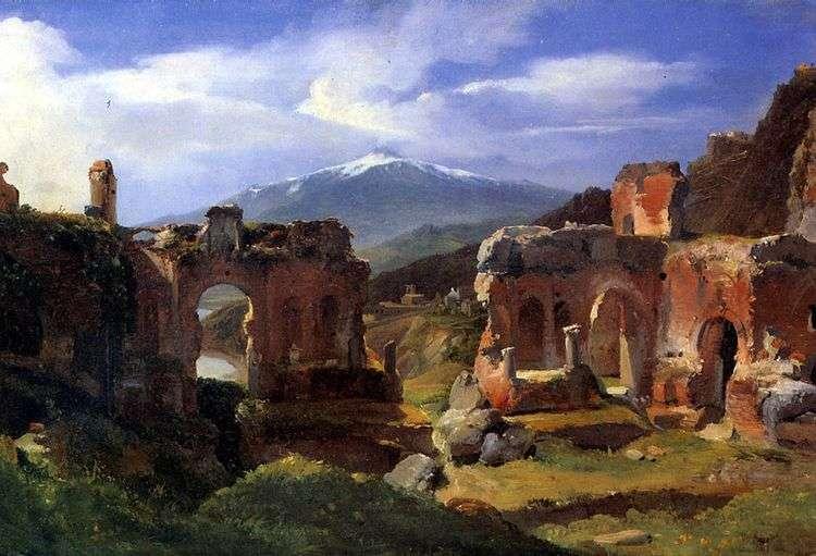 Руины театра в Таормина (Сицилия)   Ашил Этна Мишалон