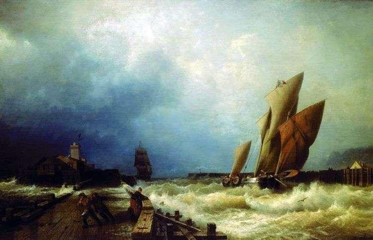 Вход рыбачьего судна в бурю в гавань Сен Валери в Ко   Алексей Боголюбов
