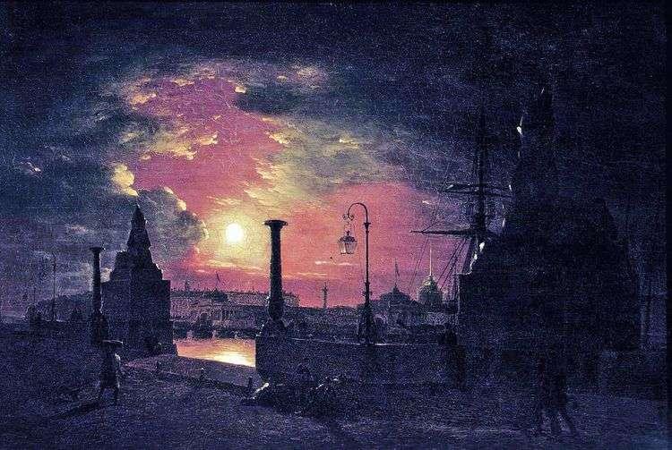 Осенняя ночь в Петербурге. Пристань с египетскими сфинксами на Неве ночью   Максим Воробьев