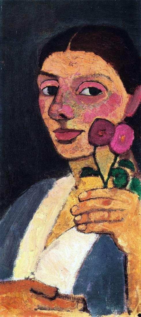 Автопортрет с двумя цветами   Паула Модерзон Беккер