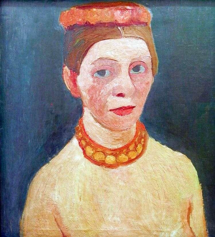 Автопортрет с красным цветком венком и цепью   Паула Модерзон Беккер