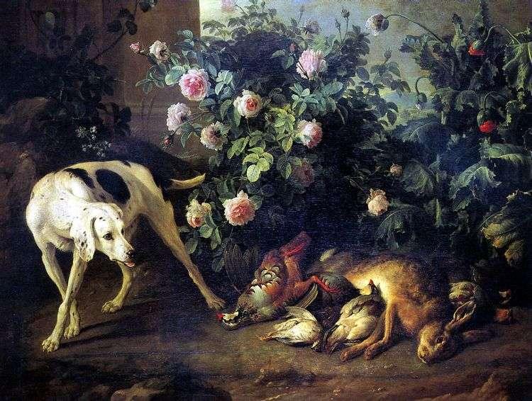 Натюрморт с собакой и битой дичью у розового куста   Франсуа Депорт