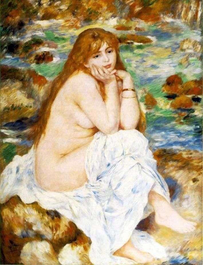 Сидящая купальщица   Пьер Огюст Ренуар