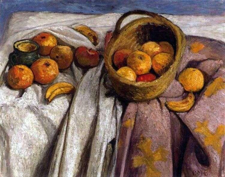 Натюрморт с яблоками и бананами   Паула Модерзон Беккер