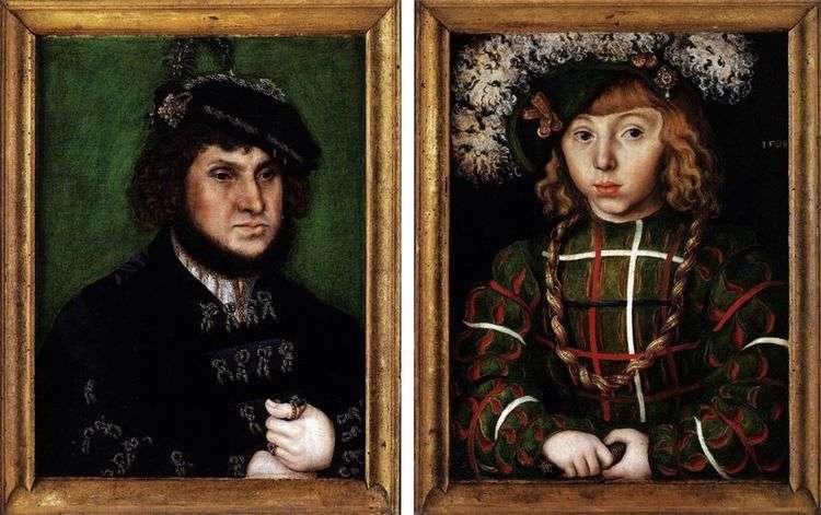 Двойной портрет Иоганн Твердый и его сын Иоганн Фридрих   Лукас Кранах