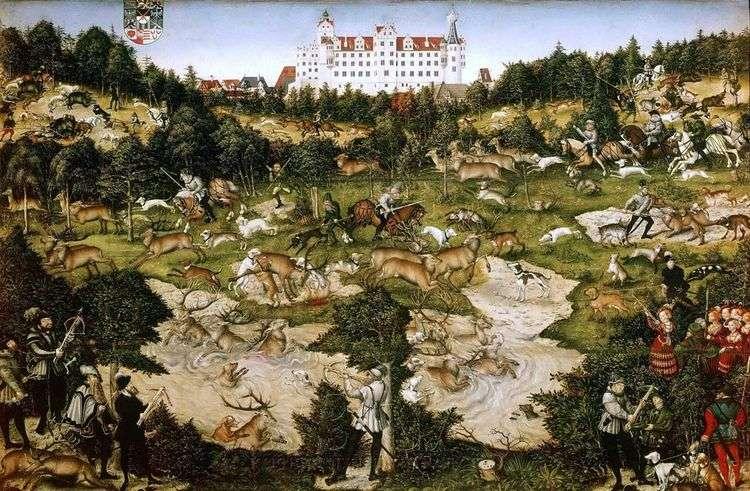 Оленья охота короля Карла V близ замка Торгау   Лукас Кранах