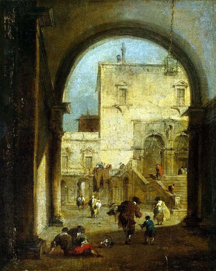 Вид площади с дворцом   Франческо Гварди